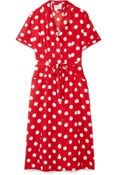 Maria Polka-Dot Silk Crepe de Chine Dress