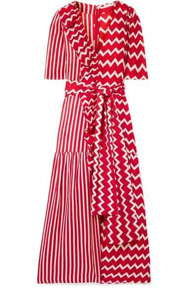 Ruffle-Trimmed Printed Silk-Moire Maxi Dress