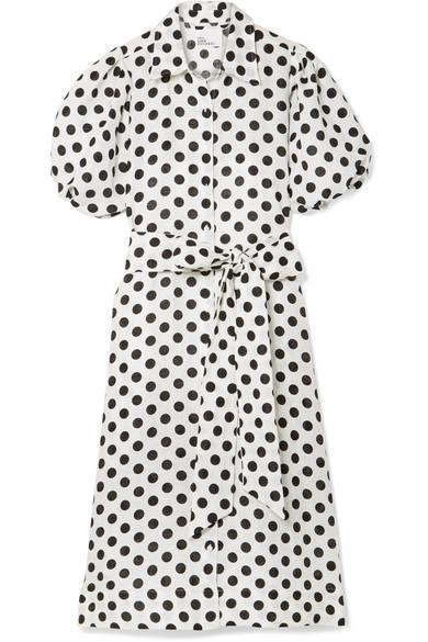Polka-dot Linen Midi Dress