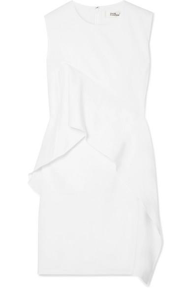Ruffled Stretch Linen-blend Dress