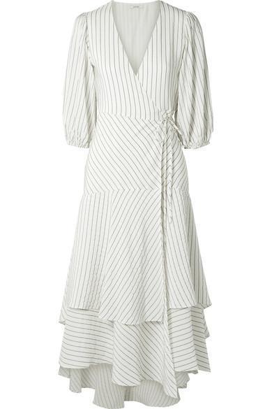 Wilkie Striped Silk And Cotton-blend Seersucker Wrap Dress