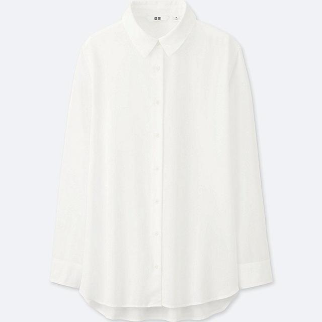Women's Rayon Long Sleeve Blouse, White, L