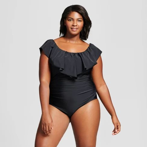 Black Plus Size  Off the Shoulder One Piece Swimsuits