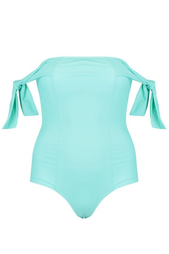 Baby Blue Off-the-Shoulder One-Piece Swimsuits