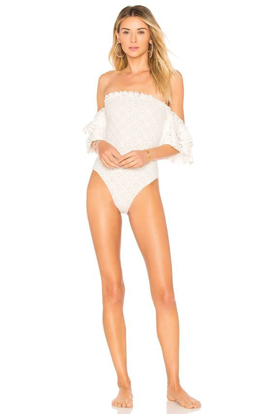 Eyelet Off-the-Shoulder One-Piece Swimsuits