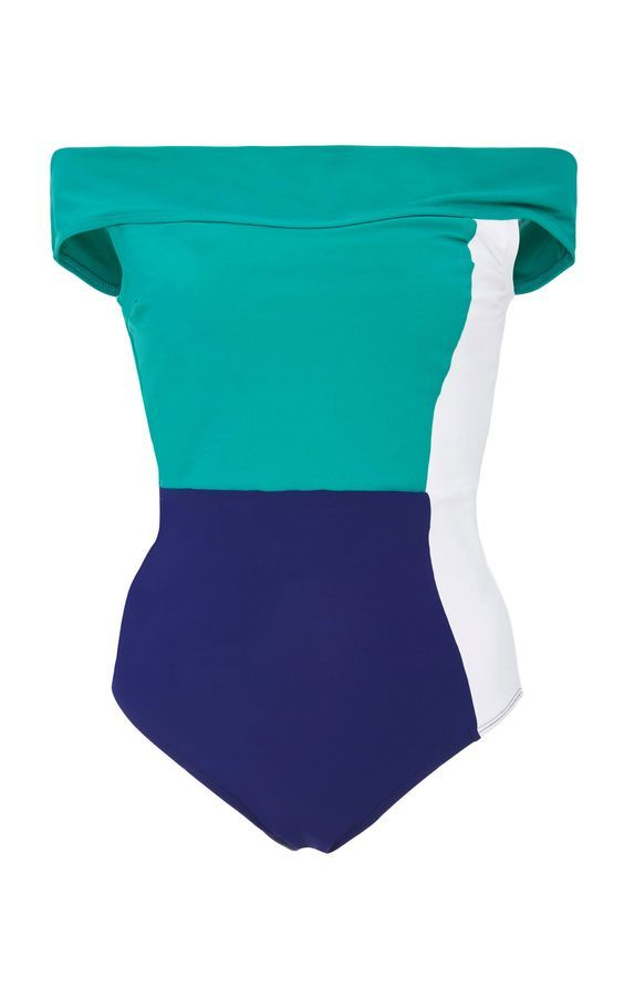 Color Blocked Off-The-Shoulder One-Piece Swimsuits