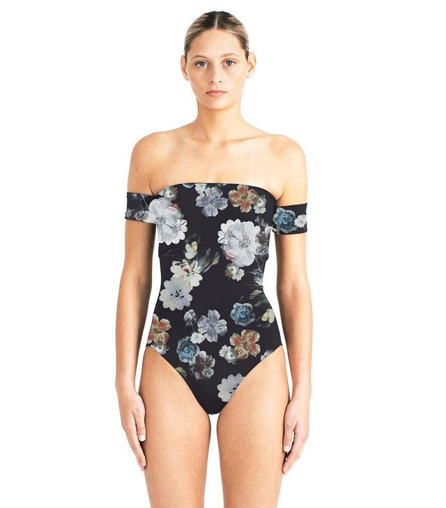 Floral Print Off-the-Shoulder One-Piece Swimsuits