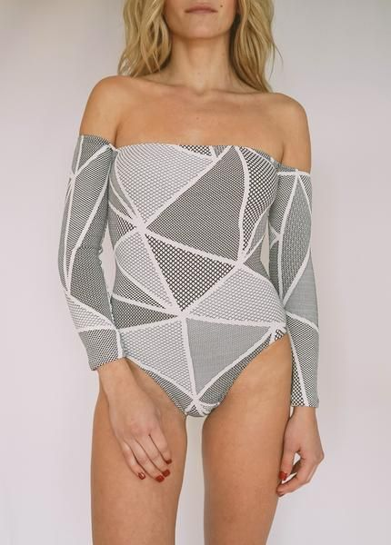 Geometric Print Off-the-Shoulder One-Piece Swimsuits
