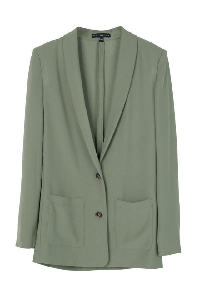 Front Row Shop Green Single-Breasted Blazer