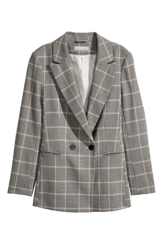 Grey Checkered Summer Blazers for Women