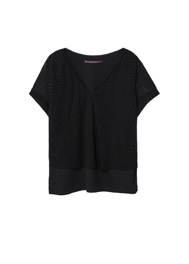Combined mesh t-shirt