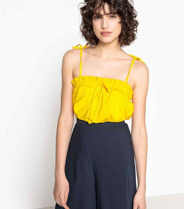 Mademoiselle R Ruffled Loose Cotton Cami Top