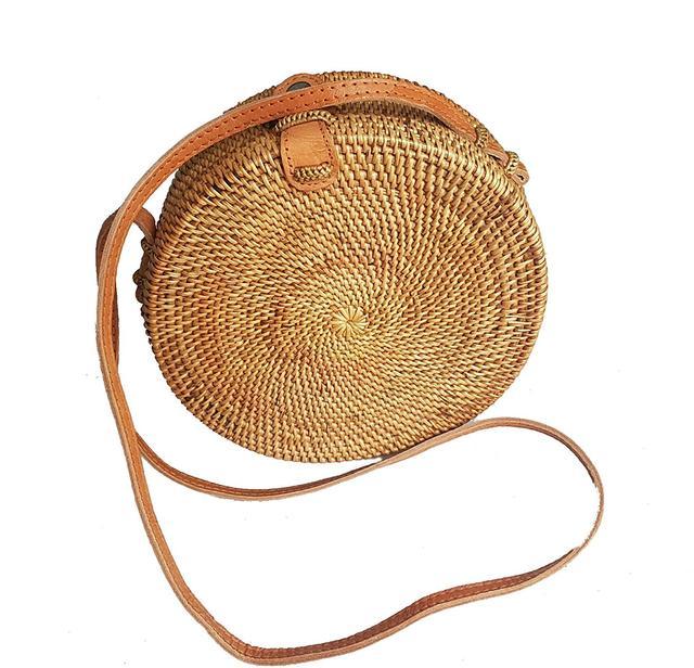 East-J Handwoven Round Straw Bag