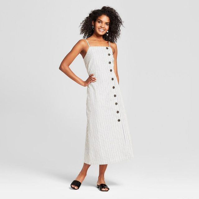 Sleeveless Button-down Midi Slip Dress