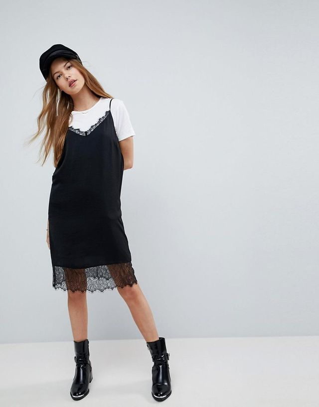 Lace Insert Slip Mini Dress