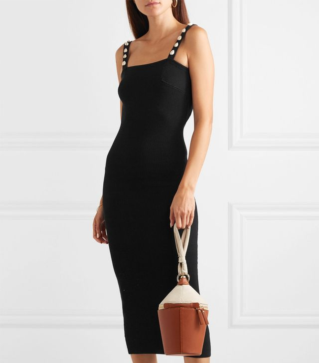 Rio Shell-Embellished Ribbed Cotton Midi Dress