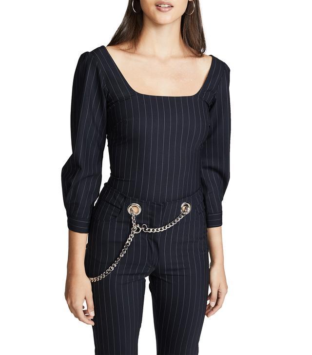 Demi Long Sleeve Pinstripe Top