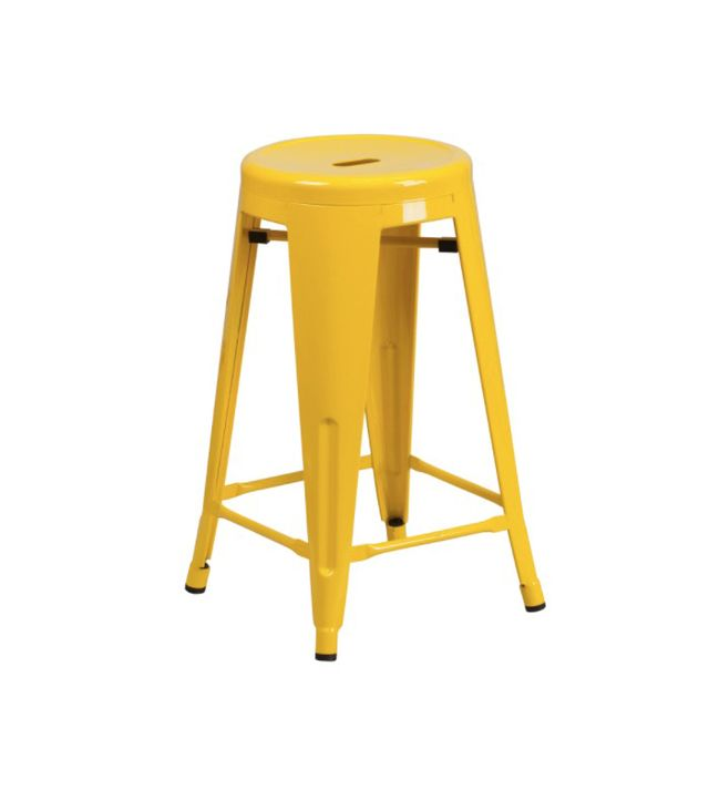 Yellow Tolix stool — apartment kitchen ideas