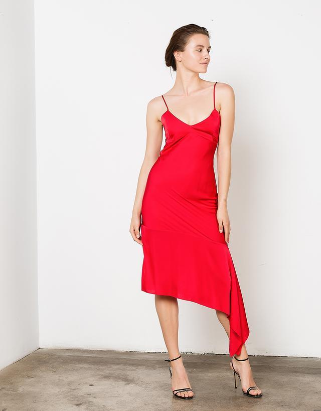Iris Asymmetric Slip Dress With Back Bindings