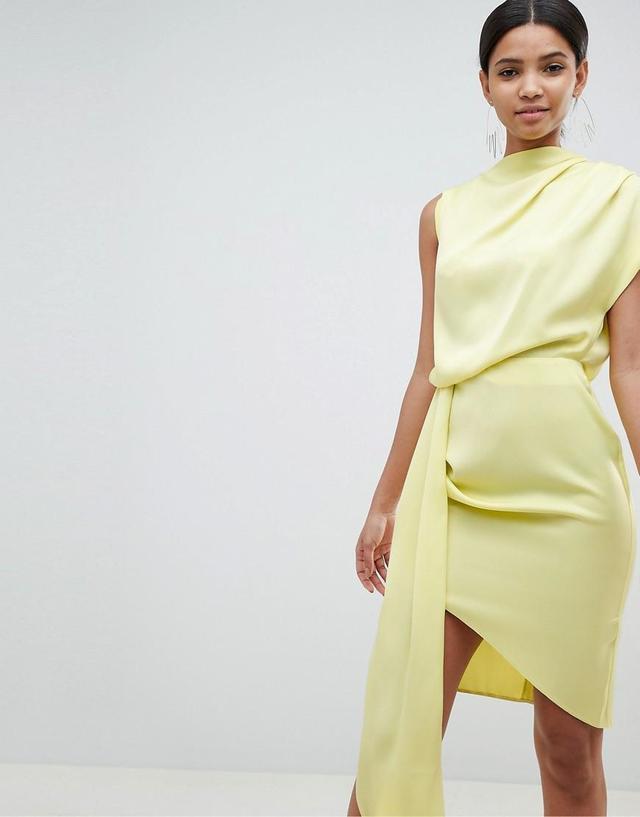 DESIGN satin drape midi dress with sash detail
