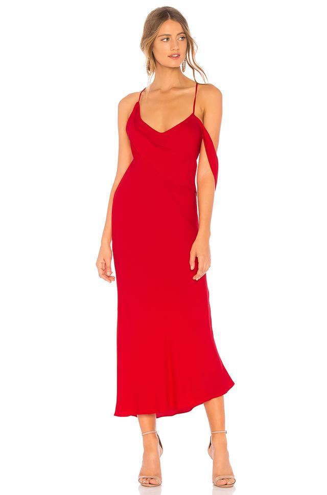 Michelle Mason Draped Cowl Midi Dress