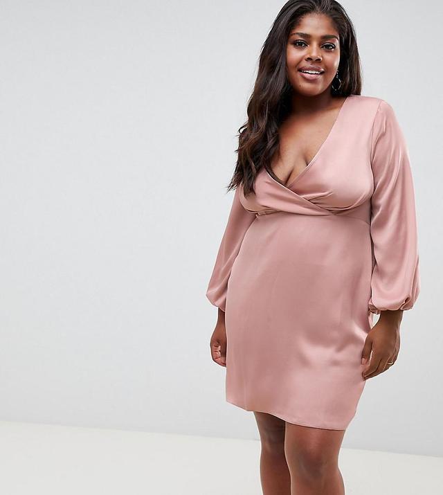 ASOS DESIGN Curve satin mini dress with blouson sleeve