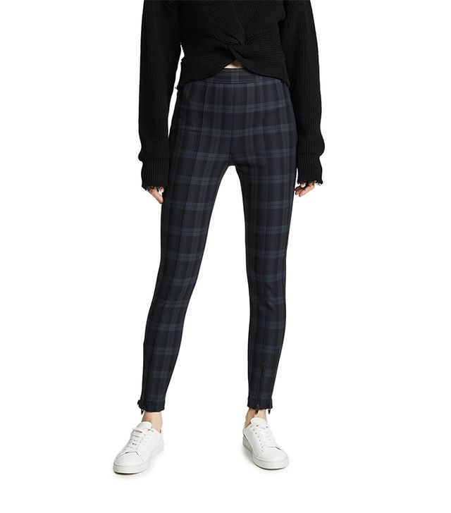 Stretch Plaid Fitted Leggings