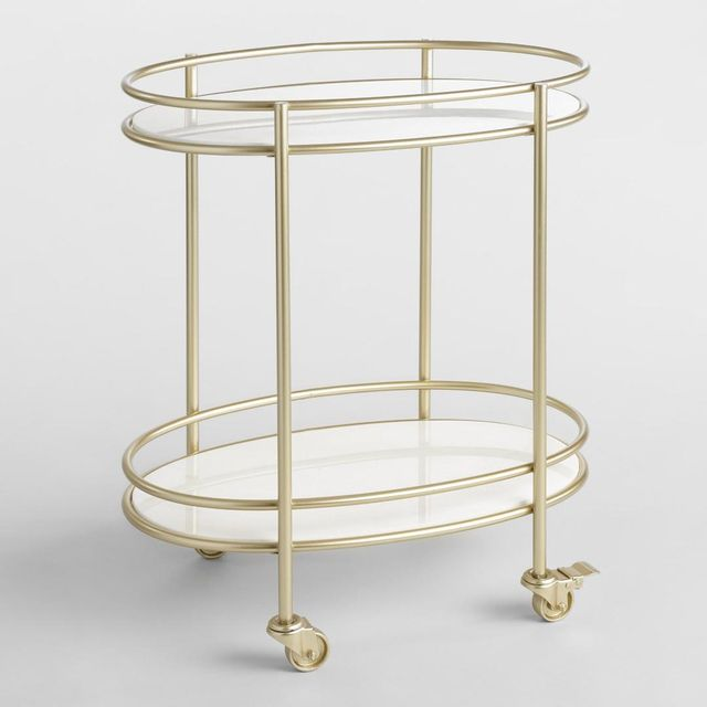 Champagne Gold Metal and White Marble Bar Cart by World Market