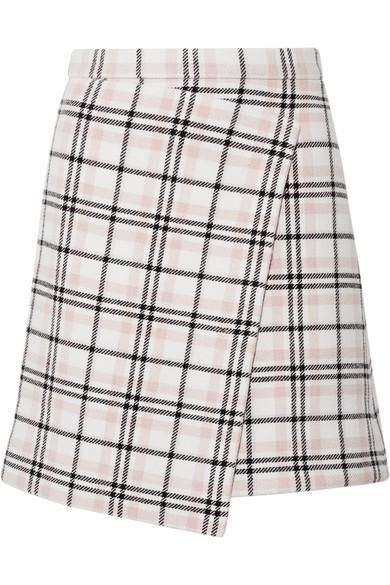 Asymmetric Plaid Wool-blend Mini Skirt