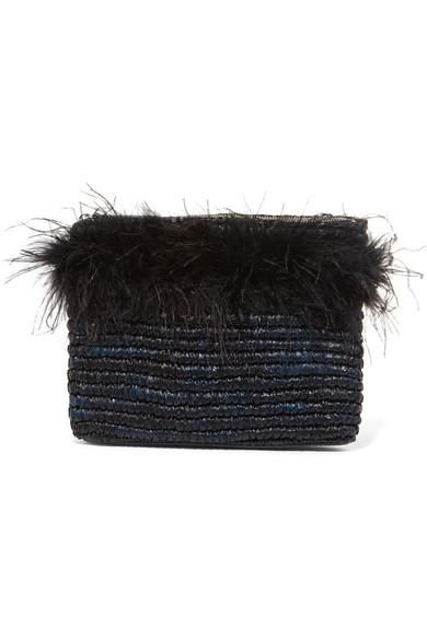 Feather-embellished Raffia Clutch