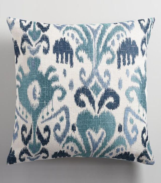 "Indigo Ikat Jacquard Throw Pillow: Blue - Polyester - 20"" Square by World Market"