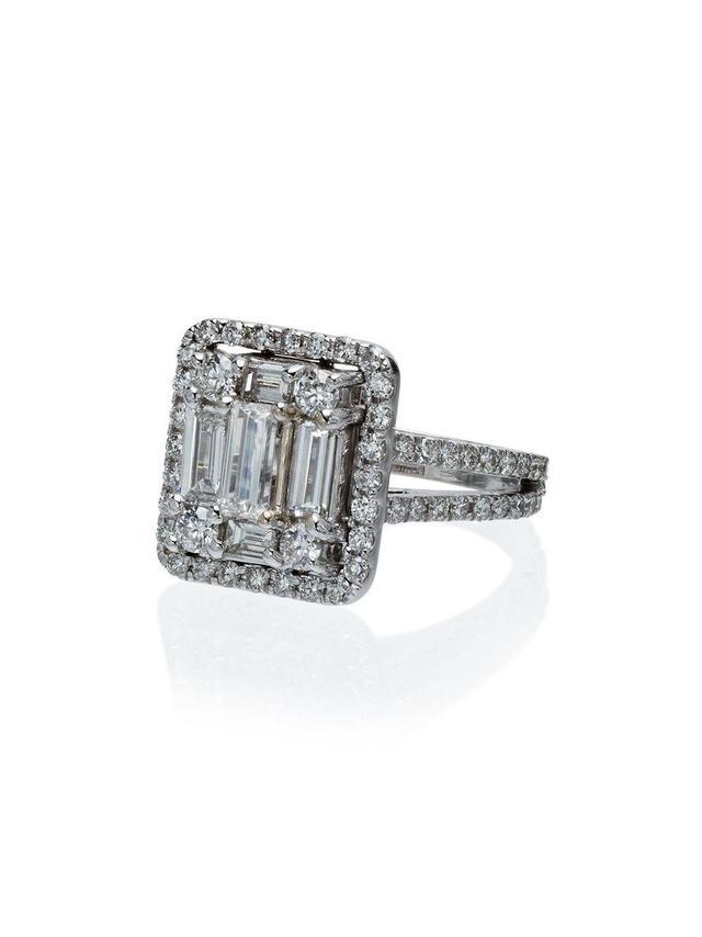 18k white gold Clarity Split-Shank Halo diamond ring -