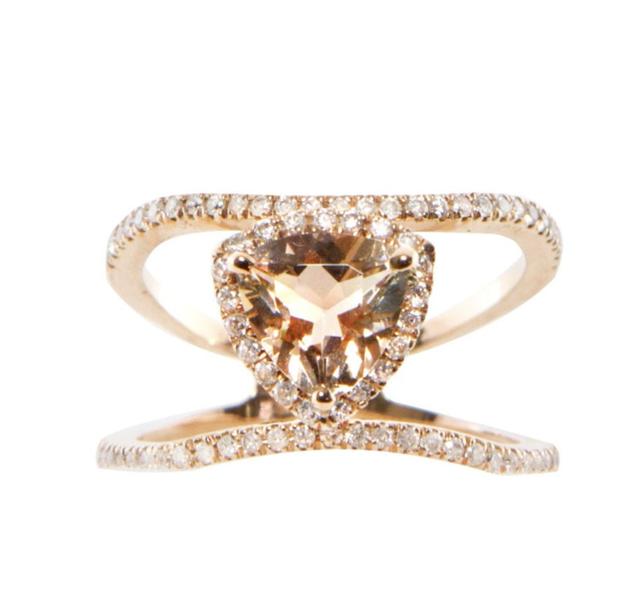Luna Skye Double Band Champagne Garnet Trillion ring