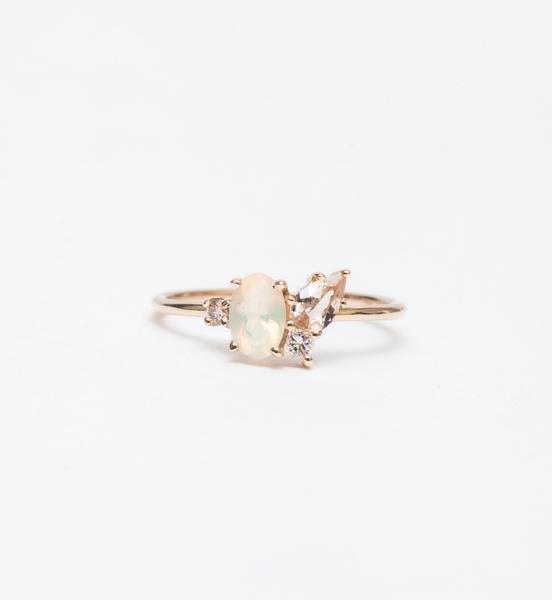Bario Neal Opal & Morganite Cluster Ring