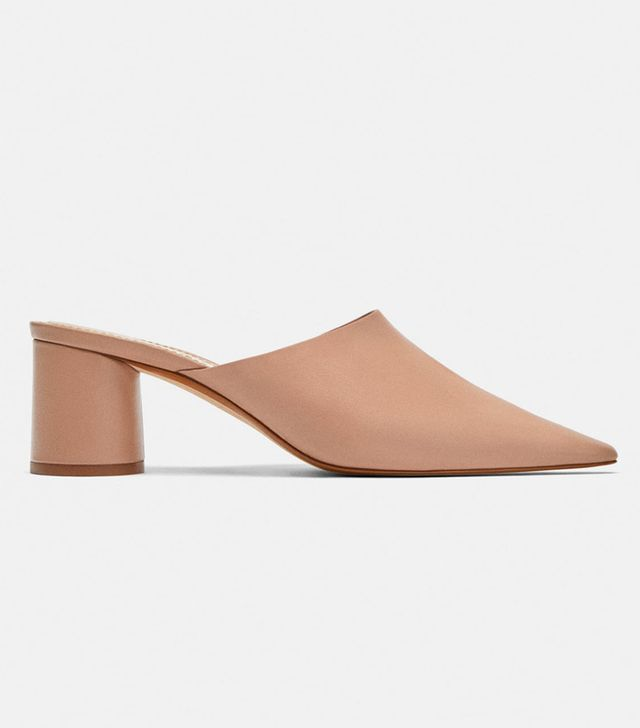 Zara Solid Colour Leather Mules