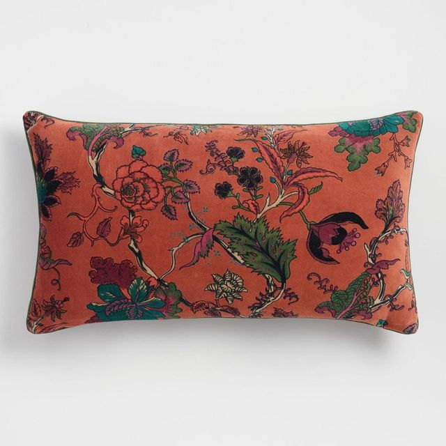 Rust Floral Velvet Lumbar Pillow: Orange/Multi by World Market