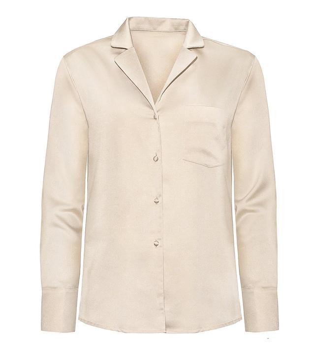 Pixie Market Silky Biege Shirt