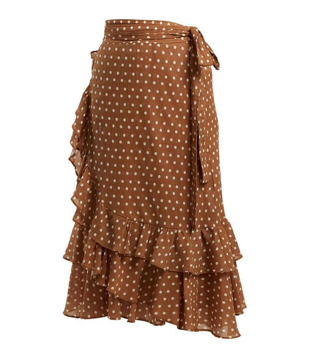 Maisee polka dot-print cotton wrap skirt