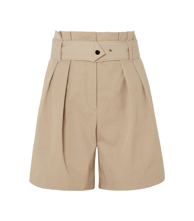 Waoi Belted Pleated Canvas Shorts