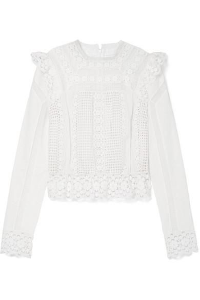 Laelia Lace-trimmed Broderie Anglaise Cotton Top