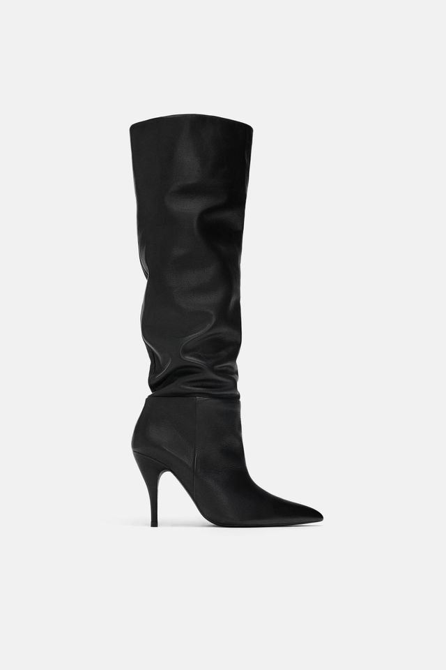 Zara Soft Leather High Heeled Boots