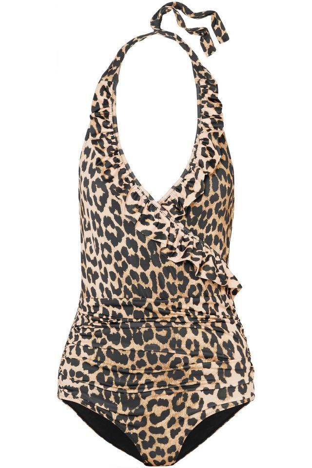 Avalon Ruffled Leopard-print Halterneck Swimsuit