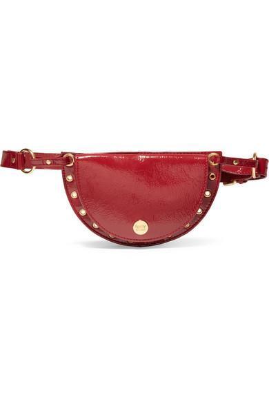 Kriss Eyelet-embellished Patent Textured-leather Belt Bag