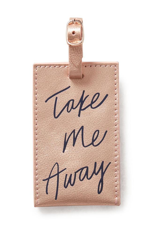 Anthropologie Take Me Away Leather Luggage Tag -
