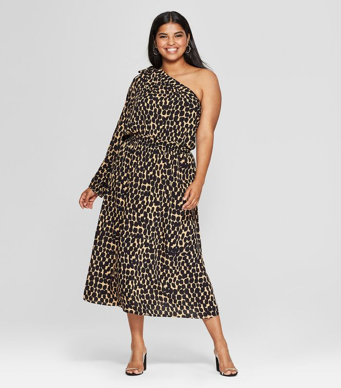 e59dbe7ba6b8a2 Pinterest · Shop · Who What Wear Leopard Print Long Sleeve One Shoulder  Midi Dress ...