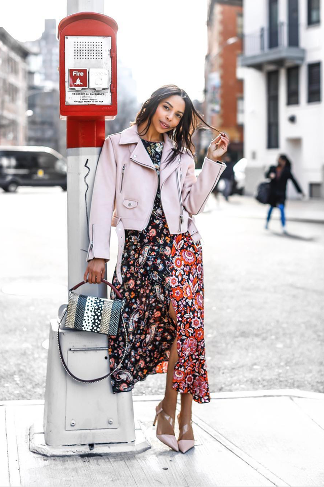 Brunch outfits for fall: floral dress leather jacket