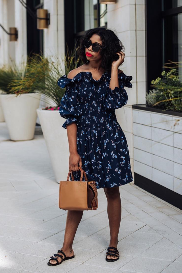 floral off-the-shoulder dress brunch outfits for fall