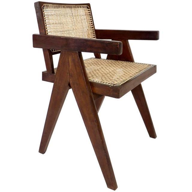 Pierre Jeanneret Teak Office Cane Chair Armchair