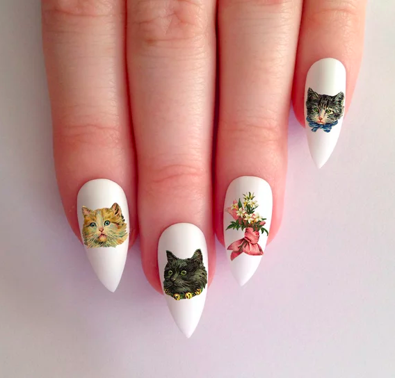 The Moon Goddess Market Adorable Vintage Kitty Cats and Flower Nail Decals Waterslide