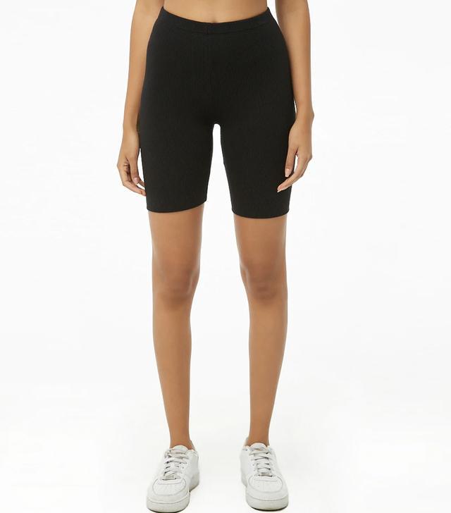 Forever 21 Ribbed Crop Top & Biker Shorts Set